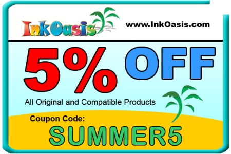 5% off coupon code for ink cartridges, toner and more at Ink Oasis!